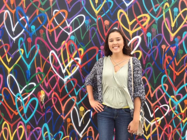 Sarah at heart wall
