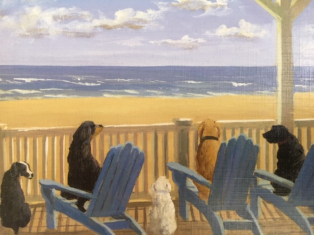 dogs on deck chairs
